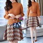 Set: Plain Knit Top + Patterned Mini Skirt