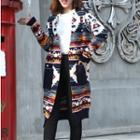 Pattern Long Cardigan Blue - One Size