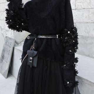 Faux Leather Chain Strap Belt Black - One Size