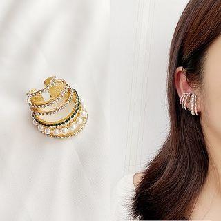 Rhinestone Faux Pearl Layered Earring Single - Gold - One Size