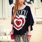 Sequined-heart Loose-fit Top