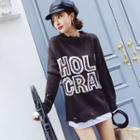 Lettering Distressed Sweater