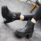 Buckled Chunky Heel Short Boots