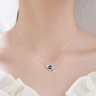 925 Sterling Silver Faux Crystal Planet Necklace