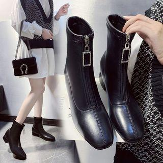 Square-toe Chunky Heel Zip-up Short Boots