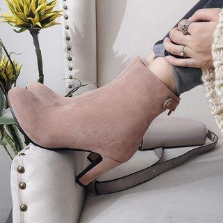 High Heel Belted Ankle Boots