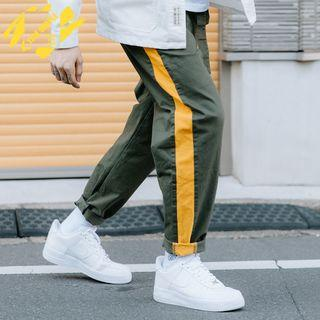Colorblock Straight-cut Pants