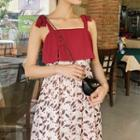 Sleeveless Mock-two Piece Floral Dress