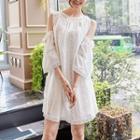 Elbow-sleeve Cutout-shoulder Crochet-trim Dress