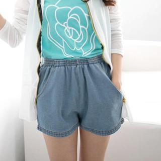Elastic-waist Denim Shorts