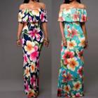 Off-shoulder Floral Sheath Maxi Dress