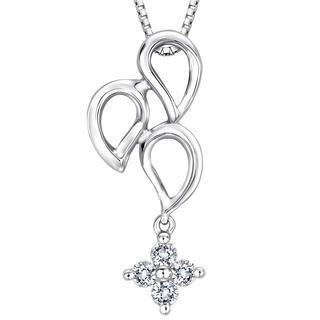 18k White Gold Teardrop Cross Diamond Accent Necklace (1/10 Cttw) (free 925 Silver Box Chain, 16)