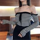 Off-shoulder Striped Knit Top Black - One Size