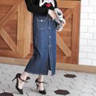 Button-down Maxi Denim Skirt
