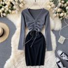 Long-sleeve Drawcord Sheath Dress