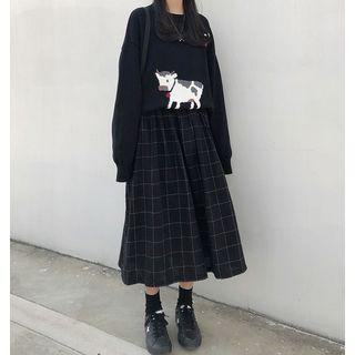 Printed Knit Sweater / Plaid Skirt