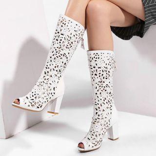 Block Heel Open Toe Knee-high Boots