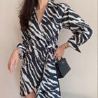 Long-sleeve Zebra Print Dress