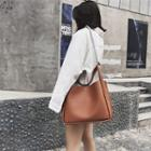 Chained Faux Leather Tote Bag