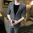 Set: Plaid Single Breasted Blazer + Plaid Slim Fit Cropped Pants