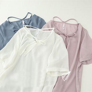 Short Sleeve V-neck Chiffon Top