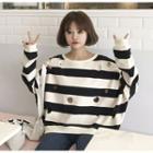 Perforated Striped Sweatshirt
