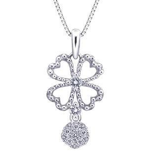 18k/750 White Gold Clover Diamond Pendant (0.17 Cttw) (free 925 Silver Box Chain)