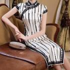 Lace Trim Printed Cap-sleeve Slit Maxi Qipao