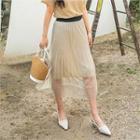 Glitter Tulle-overlay Midi Skirt