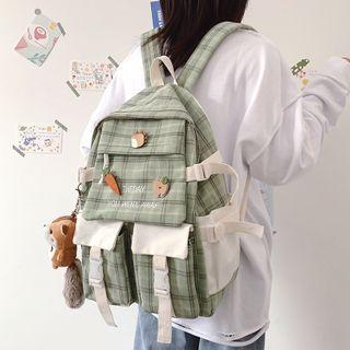Letter Embroidered Plaid Backpack