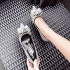 Bow Accent Glitter Pointy-toe Pumps