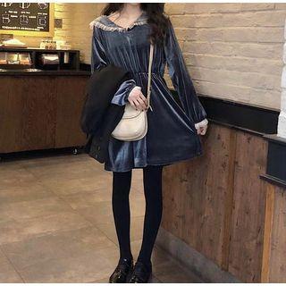 Collared Velvet Long-sleeve A-line Dress