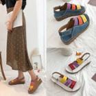 Wedge-heel Contrast Strap Sandals