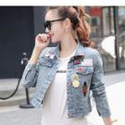 Patched Cropped Denim Jacket