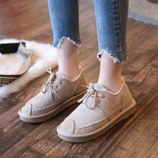Faux Suede Fleece-lined Flats