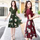 Floral Panel A-line Chiffon Dress