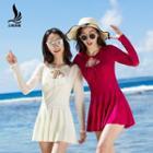 Long-sleeve Pleated Swim Dress