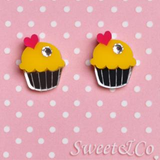 Mini Yellow Cupcake Crystals Stud Earrings