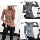 Long-sleeve Turtle-neck Striped Top