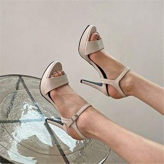 Platform Textured Stiletto Sandals