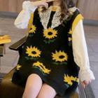 Flower Jacquard Knit Vest Black - One Size