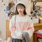 Color Block Furry Pullover