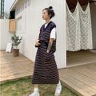 Patterned V-neck Knit Vest / Midi Skirt