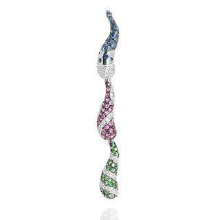 18k White Gold Customizable Pendant With Diamonds And Colorstones