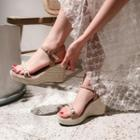 Genuine Leather Pearl Accent Wedge Platform Sandals