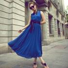 Sleeveless Maxi Chiffon Dress