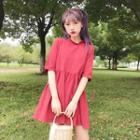 Trim Plain Short-sleeve Dress