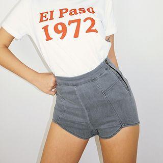 High-waist Skinny Denim Shorts