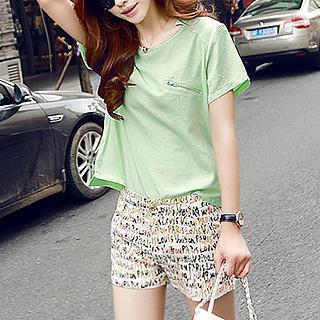 Set: Short-sleeve Top + Printed Shorts