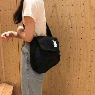 Bear Embroidered Canvas Messenger Bag Black - One Size